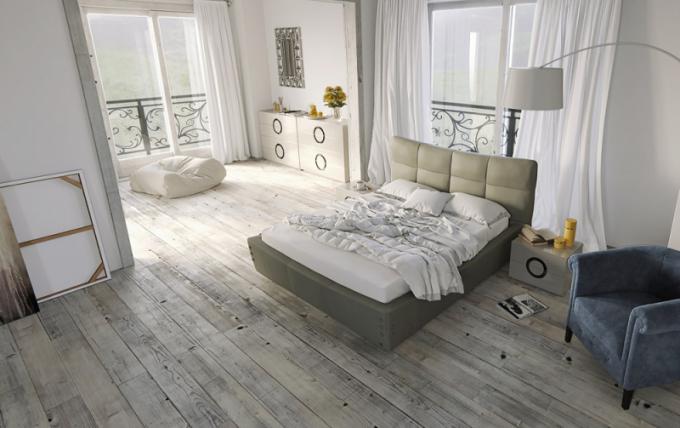 Celočalouněná postel Dream (Brik), design Ivan Čobej, látkové čalounění v kategorii L03 v kombinaci s dubovou podnoží, možnost výběrů látky až do kategorie L10, 180 × 90 × 235 cm, cena od cca 83 590 Kč, WWW. BRIK CZ, WWW. BRIK. SK
