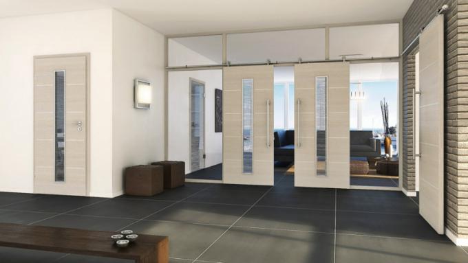 Posuvné dveře Royal 151 LA2 (Prüm), CPL Touch Pinie, výplňové sklo, posuvné kování Art, cena 9 040 Kč, WWW. PRUM. CZ