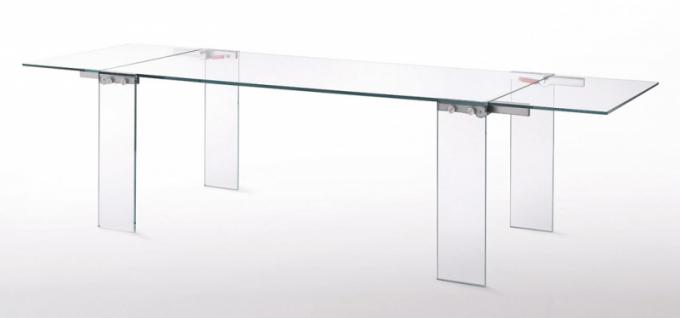 Rozkládací celoskleněný stůl Naked (Glas Italia), čiré izabarvené transparentní sklo, tloušťka nohou 15mm, otočné závěsy, verze vkouřovém zabarvení, cena kdoptání, www.glasitalia.com