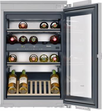 Vestavná vinotéka KWT 6422 iG (Miele), systém skladování FlexiFrame, filtr Active AirClean, Push2open, LED osvětlení, cena 79990Kč, www.miele.cz