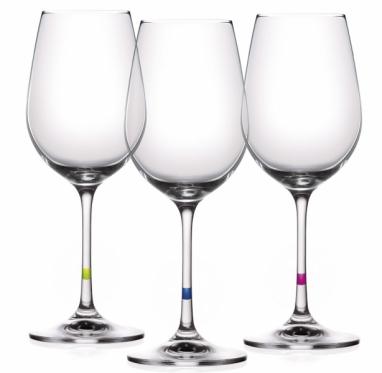 Sklenice na víno UNO VINO (Tescoma), obsah 350 ml, 6 ks, bezolovnaté křišťálové sklo, různobarevné rozlišující proužky, cena 499 Kč, www.tescoma.cz