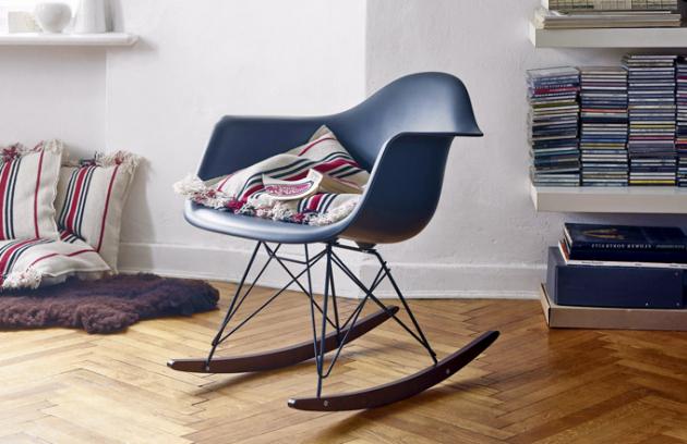 Houpací křeslo Eames Chair RAR (Vitra), polypropylen, javorové dřevo, ocel, 62,5 × 67 × 69cm, cena 14416Kč, www.D1ONE.cz