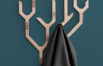 Kolekci Ambroise (Hartô) tvoří nástěnné i stojací věšáky z dubového dřeva, jejichž tvarosloví nijak neskrývá hlavní motiv předlohy – větvě zralého dubu rostoucího do všech stran. Rozměr nástěnné verze 68 × 56 cm, dubový masiv a dýha, cena 4 365 Kč, WWW.HARTODESIGN.FR
