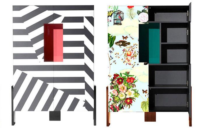 Tisíce let staré stavby Mezopotámie inspirovaly vznik kolekce komod Ziqqurat (Driade). Pomyslným vrcholem – svatyní, kam sestupoval bůh, je vpřípadě tohoto výrazného solitéru otevřená nika se zeleným pozadím. Výrazný barevný motiv byl vytvořen digitálním tiskem. Design Driade Lab, rozměry 107 × 46 × 160/200cm, cena od163 650 Kč, WWW.DRIADE.COM