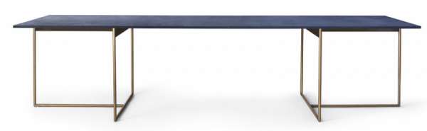 Jídelní stůl Alamo (Lema), design David Lopez Quinoces, vrstvený hliník, pryskyřice, pigmentovaný mramorový prášek shoblinami bronzu amosazi, více provedení irozměrů, provedení Lapislazzuli, cena 158220Kč, www.stockist.cz