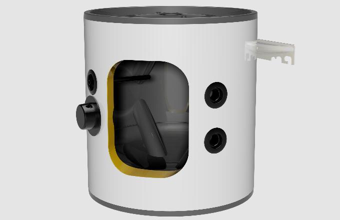 """Akumulační nádrž NAD 50 v1 s polyuretanovou izolací (PUR 42 mm) a plechovým lakovaným pláštěm, do které je možné instalovat šroubovací topnou jednotku TJ 6/4"""" (DZD)."""