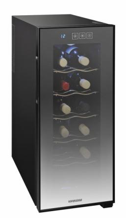 Vinotéka VIN12B (Hyundai), termoelektrické chlazení, pro 12 láhví, osvětlení, LED display, cena 3299Kč, www.electroworld.cz