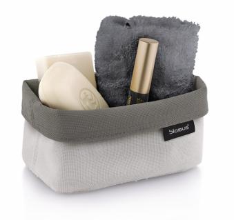 Oboustranný box nakosmetické pomůcky Ara (Blomus), syntetická tkanina zabraňující usazování nečistot, cena 994Kč, www.kulina.cz