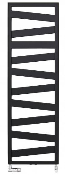 Designový radiátor Kazeane (Zehnder), šikmé umístění plochých trubek poskytuje více místa pro dosoušení ručníků, vnabídce elektrický, teplovodní ikombinovaný typ, mnoho rozměrů a48 barev, cena od13980Kč