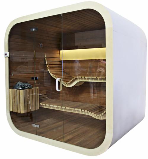 Saunová kabina Mayo (Dyntar), design Jana Černá, 200 × 125 × 220 cm, cena od 150 000 Kč, www.dyntar.cz