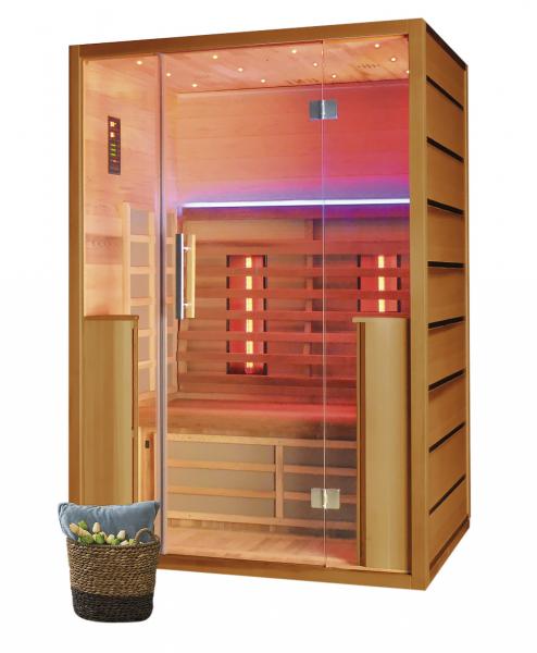 Infrasauna Radiant (Harvia), kabina ze dřeva hemlock, vnější panely– tmavě ořechová dýha, infrazářiče s technologií karbon-kevlar, pro 2 osoby, cena 49 770 Kč, www.finskasauna.cz