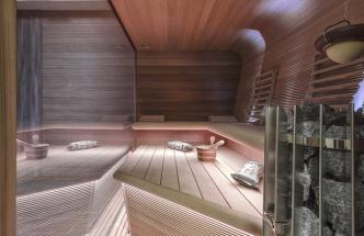 Finská sauna (Timo Nakari), DAL Design, saunová kamna HELO Rocher, LED pásky, cenadle realizace,  www.virivkysauny.cz