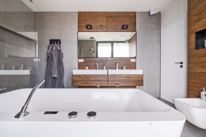 Koupelna nabízí možnost sprchování ináruč vany (Villeroy Boch) zmateriálu Quaryl. Nábytek (Sargánek) zhotovený namíru vdesignu Petra Tůmy je doplněn umyvadly (Laufen) zmateriálu SaphirKeramik astojánkovými bateriemi (Steinberg)
