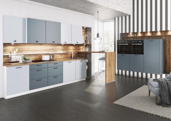 Kuchyňský koncept Almost Blue / Sahara (Livanza), jemně modrý dekor zastoupený linií Almost Blue vkombinaci šedomodrého odstínu zlinie Savana, cena nadotaz,  WWW.ORESI.CZ