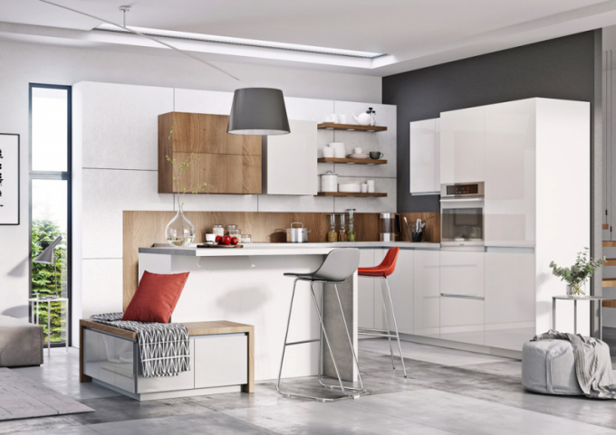 Kuchyňský koncept Elza  (Jena nábytek), bílý dekor vkombinaci sakátovým dřevodekorem, korpus zdřevotřískových desek  LDTD, dvířka zMDF, výškově nastavitelné nohy, délka modulu 240cm, cena od34200Kč,  WWW.JENA-NABYTEK.CZ