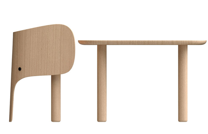 Židle astůl Elephant (Elements Optimal), design Marc Venot, bukové dřevo, stůl,  48 × 75 × 55cm, orientační cena 5152Kč, židle, 52,2 × 44 × 36 cm, cca 5152Kč, www.finnishdesignshop.com