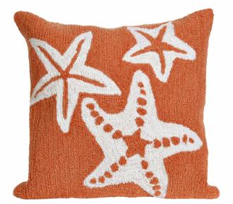 Venkovní polštář Starfish Scatter Coral Orange, polyakryl apolyester, orientační cena 1127Kč,  www.caronsbeachhouse.com