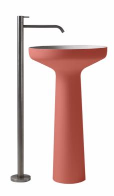 Umyvadlo Ago 85 (Antonio Lupi) vdesignu odstínu Bambola, design Mario Ferrarini, vevíce barvách ipovrchových úpravách, 50 × 85cm, cena nadotaz, www.antoniolupi.it