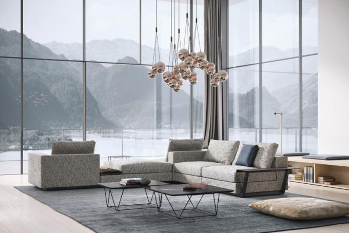 Modulární pohovka Living Landscape 755 (Walter Knoll), design EOOS, možnost přídavných odkládacích ploch adalšího příslušenství, látkové čalounění, cena cca 761900Kč, WWW.KONSEPTI.COM