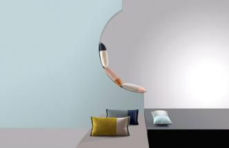 Polštáře Abstract (Pode), design Claire Vos, šest barevných kombinací, materiál: samet ajemná vlněná tkanina, cena cca 2600Kč, www.pode.eu