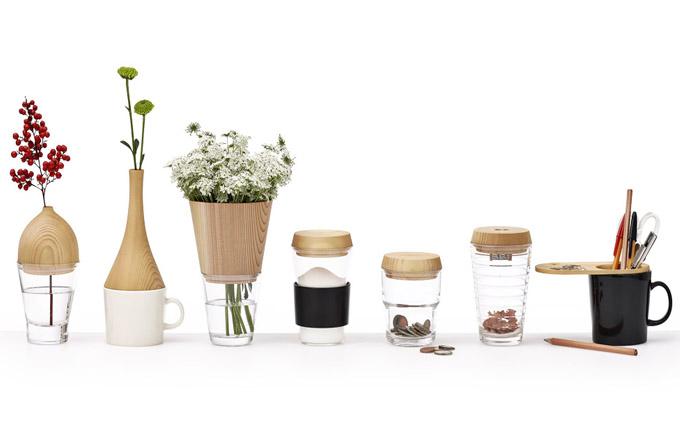 Kolekce Rename (Design For Industry) zahrnující vázy, hrnky adózy, design Daisuke Kitagawa, sklo, dřevo asilikon, cena nadotaz,  www.designforindustry.jp
