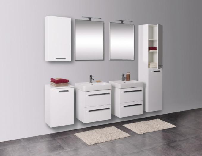 Koupelnový nábytek Krajcar se vyrábí ve verzi se zásuvkami nebo s dvířky, v bílém a barevném provedení nebo s dekorem dřeva, cena podle typu k doptání, www.krajcar.cz