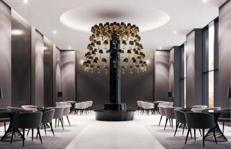 Rony Plesl navrhl sadu 157 levitujících lampiček, které tvoří jeden unikátní svítící objekt. Jeho jedinečnost spočívá ve spojení nadčasového designu, celoskleněného provedení, kdy stínítko je z černého skla, noha lampy je z části čirá a částečně se zlatým pokovením. (Sans Souci)