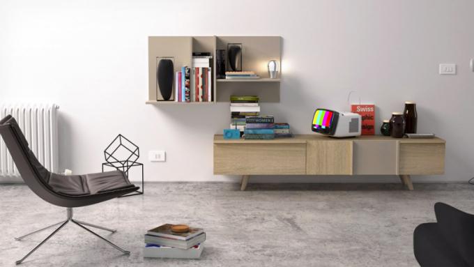 TV komoda zkolekce Mya  (Megamobiliario), design LaCubitera,  dubová dýha alakovaná MDF,  200 × 42 × 45cm, cena 44 600Kč,  www.onespace.cz
