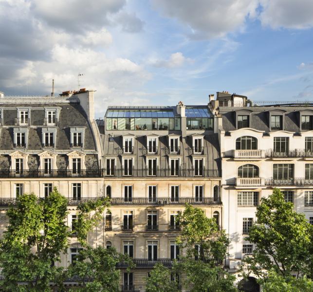 Původní prostory pocházejí z 19. století a výsledkem rekonstrukce byly dva mezonetové apartmány. Citlivou přestavbou se nijak nenarušila haussmannianská architektura, která pochází z obdobíDruhého císařství.
