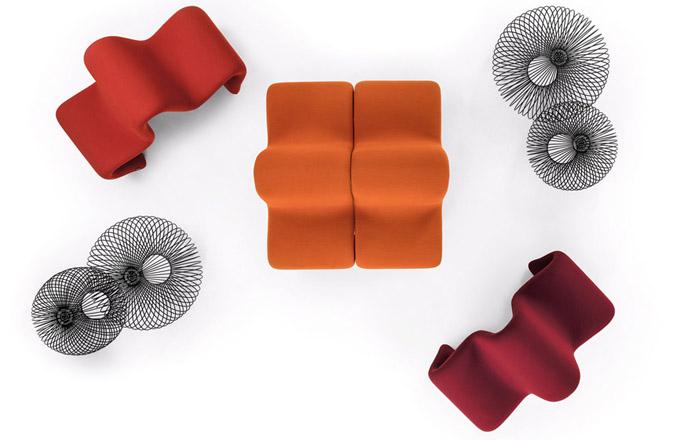 Sedací modul Dos à Dos (La Cividina), design Pierre Paulin, rozměr 71 × 140 ×60cm, vněkolika barevných provedeních, cena 81 020 Kč,  www.lino.cz