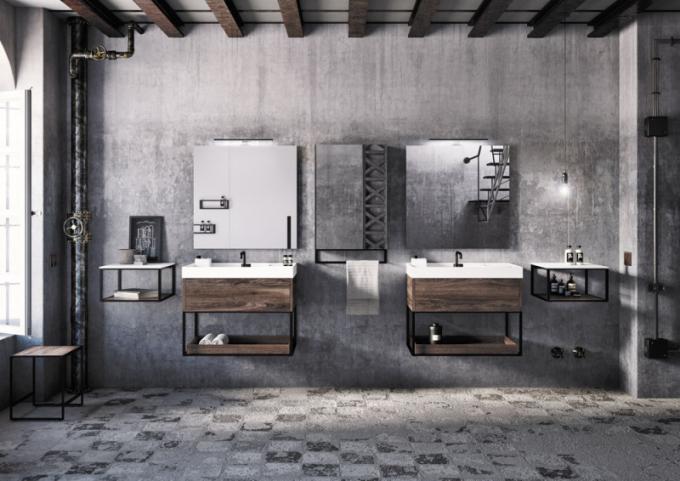 Kompletní kolekce koupelnového vybavení The Grid (Cosmic), design Ricard Ferrer, důraz naparalelní čisté linie nábytku, umyvadel idoplňků, umyvadla spovrchem Cristaplant Biobased, vevíce šířkách, cena nadotaz, www.icosmic.com