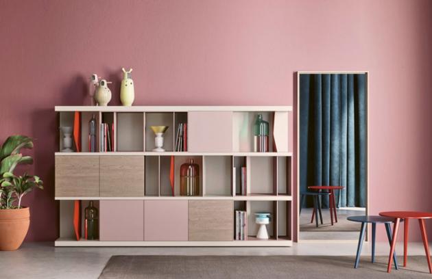 Knihovna Reverse (Novamobili), imitace dřeva, matný lak, cena od101775Kč,  www.casamoderna.cz