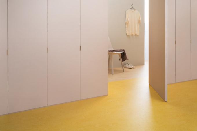 Linoleum Marbled (Marmoleum) umožňuje využití vcelé ploše ikombinaci dekorů, vyznačuje se vysokou odolností asnadnou údržbou, dekor Real 3173 aFresco 3251, cena 756 Kč/m², www.marmoleum.cz