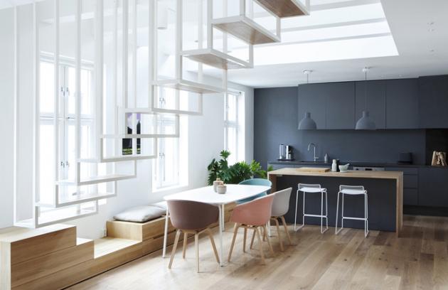 Apartmán Idunsgate se nachází v nejvyšším patře činžovního domu z 19. století v centru Osla.