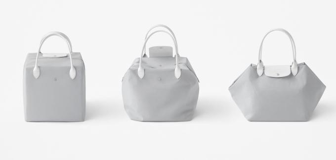 Zatímco klasická kabela Le Pliage® nabízí 2 rozdílné způsoby použití – první coby kabelka či cestovní brašna, druhý, když je minimalisticky složena. Nový Nendo design ji dává třetí rozměr – představuje tuto brašnu jako funkční a zároveň esteticky hezký objekt, který může byt použit jako úložný a designově čistý prvek kdekoliv vinteriéru, vbytě, domě, či kanceláři.