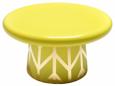 Solitérní stůl T-table Maxi (Bosa), design Jamie Hayon, kombinace žluté azlaté barvy, keramika,  Ø 26cm, výška 46cm,  www.wannekes.com