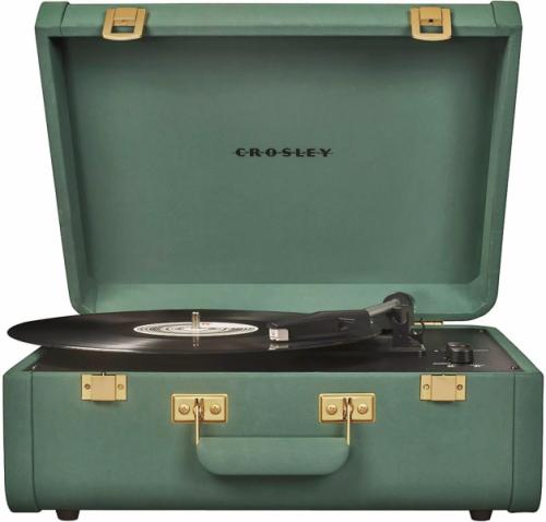 Gramofon Portfolio Quatzal (Crosley), zelený odstín, Bluetooth připojení, AUX vstup aRCA výstupy, 39 × 31 × 17cm, cena 3789Kč,  WWW.METROSTORE.CZ