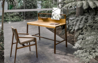 Multifunkční stůl Scribe (Alivar), design Giuseppe Bavuso, dřevo akůže, 105 × 125 × 64cm, cena nadotaz, WWW.ALIVAR.IT