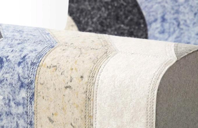 Na důkaz úspěšné a přínosné spolupráce španělské značky GAN a věhlasné designérky Patricie Urquioly byl letos představen nový projekt Nuances, solitérní pufy vyrobené z plsti, z odpadních vláken vznikajících při zpracování vlny. Designérka i tentokrát sáhla po barevných a strukturálních přechodech, které, jak ona sama říká, jsou její obsesí. V nabídce jsou ve více barevných provedeních, rozměr 100 × 56 × 43 cm. Cena na dotaz, WWW.ONESPACE.CZ