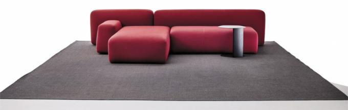 Modulární sofa Suiseki (LaCividina), design Andrea Steidl, různé výšky, šířky ihloubky, bukový masiv, masonite panely, nehořlavá polyuretanová pěna, polyesterová vlákna, snímatelné textilní čalounění, komplet pohovka, cena od154500Kč, jeden modul, cena od27300Kč,  www.lino.cz