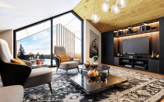 Místo bývalého olympijského parku Rio – Lipno se do dvou let promění v exkluzivní resort s pětihvězdičkovým servisem služeb a komfortem světové úrovně. Důraz je kladen především na propojení s přírodou, proto také architekti s respektem k lokalitě použili materiály typické pro šumavské stavby – dřevo, omítku, kámen. Nechybí velkoformátová okna, dostatek úložného prostoru, klimatizované místnosti, sauna ve standardu, sklepní kóje, speciální nájezdy v garážích pro sportovní vozy, i velká SUV či dobíjecí stanice