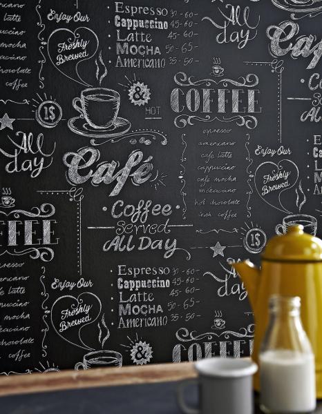 Život je změna Vysoce omyvatelná vinylová tapeta s vliesovým podkladem zkolekce Old Friends II vytvoří zvaší kuchyně moderně vyhlížející bistro. Začněte s proměnou ještě dnes! Kuchyňská vliesová tapeta Coffee Shop (Graham & Brown), rozměry 0,52 x 10 m, cena 459 Kč/role, www.vavex.cz