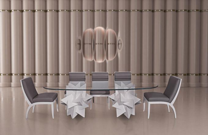 Jídelní stůl PAPER WEIGHT (kolekce FORMITABLE, design Wael Farran Studio)