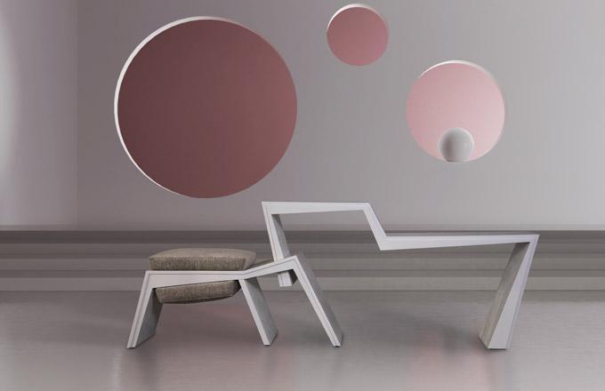Odkládací stolek HYBRID  kombinovaný se sedákem (kolekce FORMITABLE, design Wael Farran Studio)