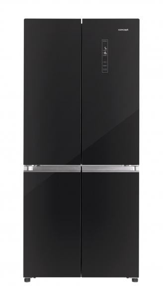 Americké chladničky Concept se nabízejí isluxusním povrchem zčerného abílého skla, typy LA8783bc mají celkový objem 508l, funkci Total No Frost, funkce Vacation aalarm nedovřených dveří, cena 24990Kč