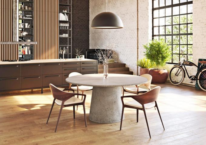 Jídelní stůl Mount (Gravelli), dvě různé struktury betonu, průměr 160cm, cena 70 200 Kč,  www.gravelli.com