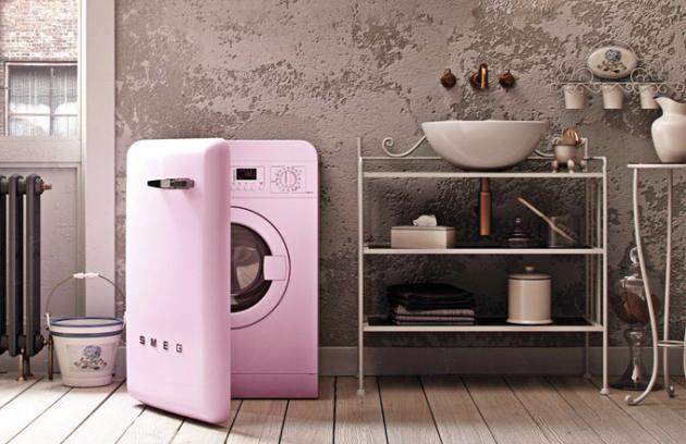 Volně stojící pračka LBB14PK-2 (Smeg), 60cm, růžová, třída A++, skladovací prostor vedveřích pračky, 7kg prádla,  15 programů, 1400 ot./min, Aquastop Total, cena nadotaz, WWW.SMEG.CZ
