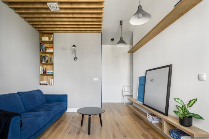 Základem projektu jsou bílé a šedé stěny a přírodní dubová podlaha.Leitmotivem jsou modré a žulové odstíny, které jsou patrné v lakovaném nábytku a čalounění sedacího nábytku a křesel.