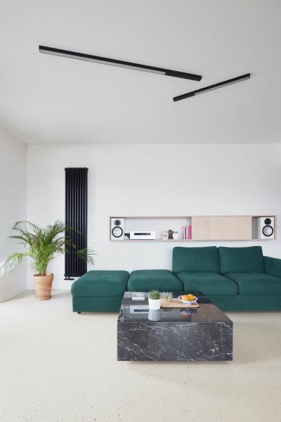 Otevřený prostor vymezený konstrukčními prvky umožnil vzniknout individuálně funkčnímu uspořádání. Celý interiér je rozdělen na společenskou část s otevřenou kuchyní a jídelnou a soukromou část sestávající se z ložnice s koupelnou a toaletou.