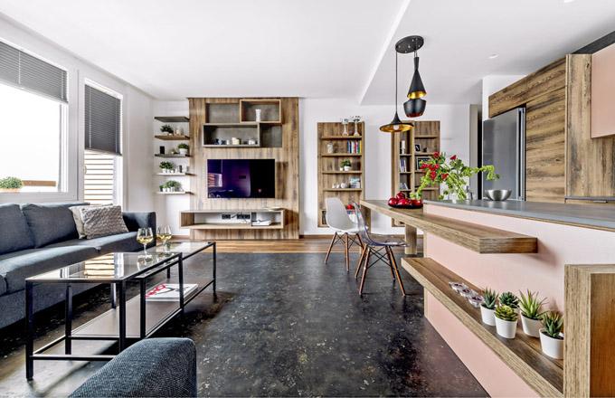 Základní kombinaci společenského prostoru tvoří laminovaná deska vdekoru zašlého dřeva sdeskou vdekoru kašmírově šedé, jež je doplněna vinylem vdekoru černého kamene